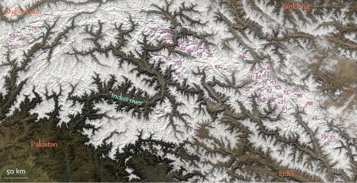 Location of peaks in Hindu Kush and Karakoram, ranked globally as in the list