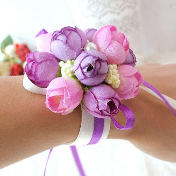 Dama de honor de seda rosa muñeca flores artificiales novia flores para la boda 5 colores flor decorativa de la mano