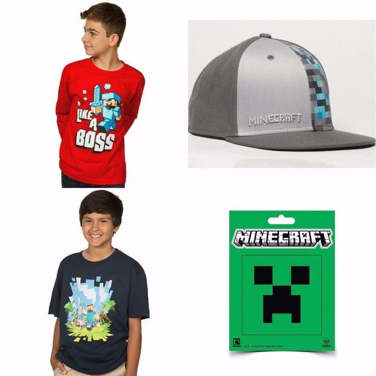 Minecraft Boys Youth T Shirt Tee or Baseball Hat or Sticker - Priced to Clear
