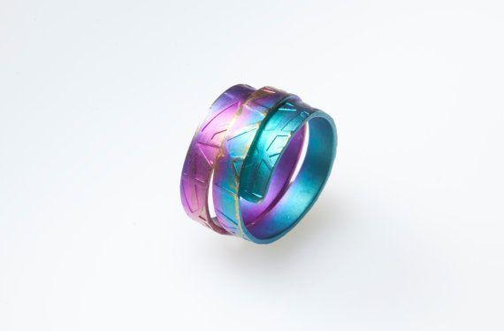 Titanium Band Ring Fushia  Purple  Turquoise Unique by Giampouras