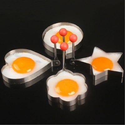 Cocina del diseño del corazón / del anillo / de la flor / de la estrella del acero inoxidable de la crepe de la talladora del huevo frito del cocinero 4pcs que cocina el molde de los anillos de la herramienta