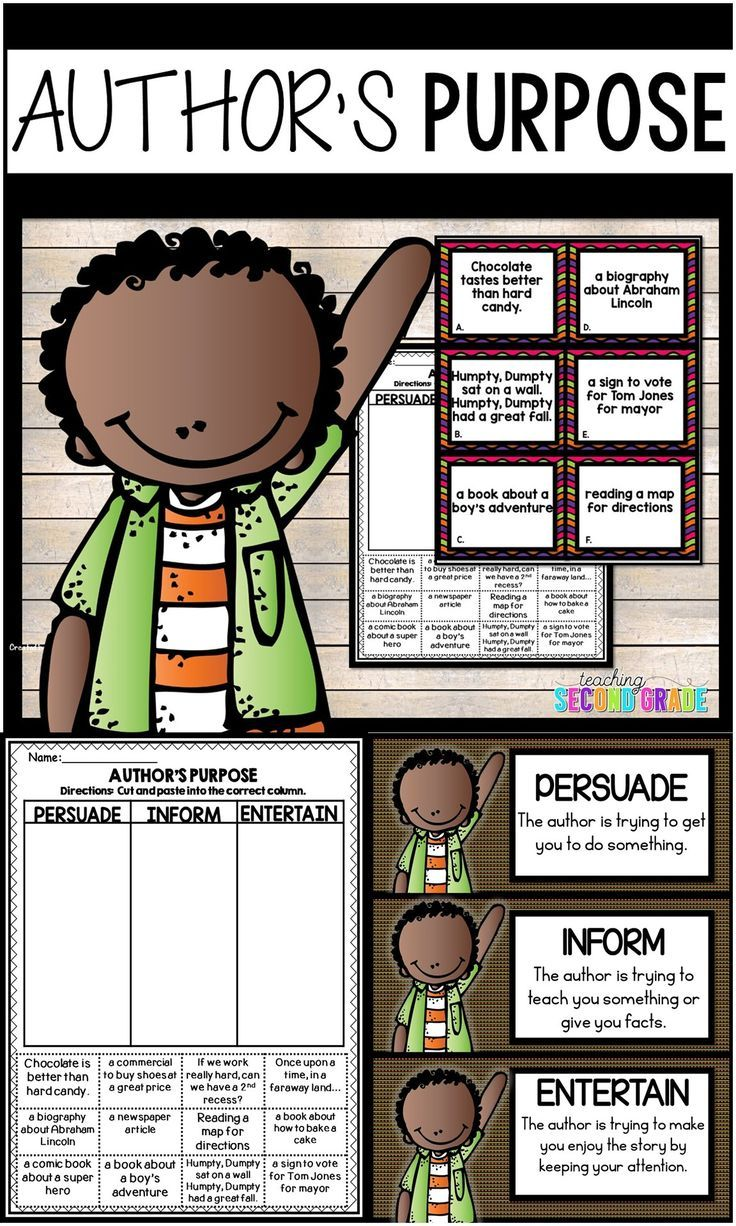 Author's Purpose Task Card Activities - Help your 1st, 2nd, and 3rd grade classroom or homeschool elementary students master the reading strategy of authors purpose. Students will choose a task card and then decide if the author is trying to persuade, inform, or entertain. You get 12 task cards that can be used as a sort, center, stations, rotation, for early or fast finishers, as test prep, and more. {first, second, third graders, home school} #Reading