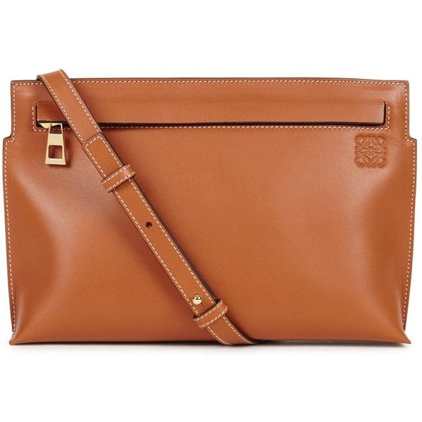Loewe T Pouch medium brown leather cross-body bag (€680) ❤ liked on Polyvore featuring bags, handbags, shoulder bags, zipper pouch, crossbody shoulder bag, crossbody purse, brown leather purse and leather crossbody purse