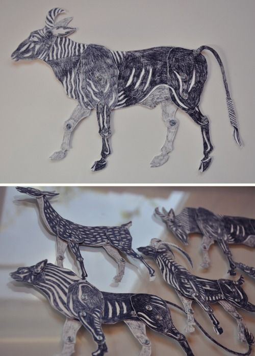 Paper puppets by Zanna Allen for stop-motion animation based off Aesop Fable 'The Old Lion and the Fox'.