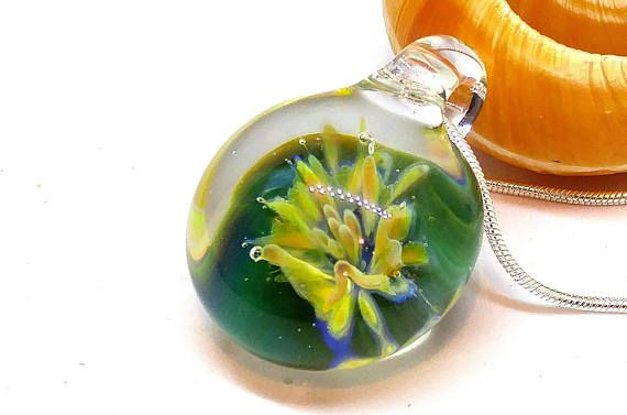 Blown Glass Necklace Yellow Flower Pendant Lampwork Bead