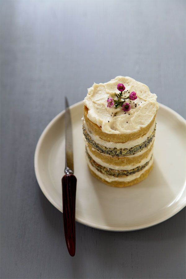 Poppy Seed Lemon Layer Cake with Vanilla Buttercream