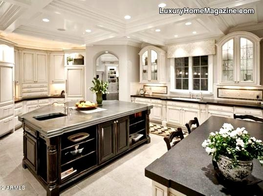 Luxury White Kitchens like: border background on small backsplash comment: wht kitchens