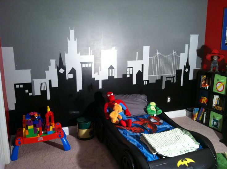 My best friends son's gotham city skyline we painted on his wall this weekend…