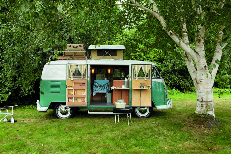 "VW Camper photo from ""My Cool Caravan,"" a book that explores teardrop, camper & classic RV living."