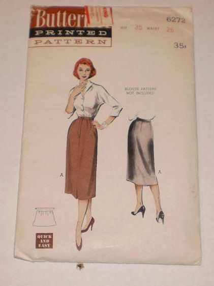 "Vintage One Piece Skirt, 1950's Butterick Pattern #6272, Size 14, Waist 26"" (66cm), Hip 35"" (89cm) 3 Pattern Pieces, A Reed - Slim Skirt by TheShoppingMoll on Etsy"