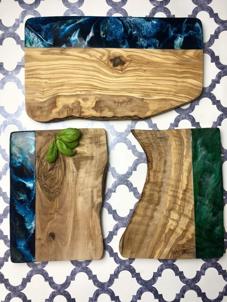Epoxy resin and olive wood serving boards handmade by qsptresindesign – Ideas and DIY