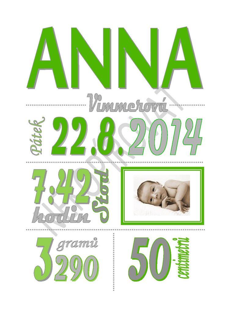 Pro miminko Zhotovím Vám na přání plakátek pro miminko s údaji o jeho narození. Hotové zasílám emailem ve formátu pdf.