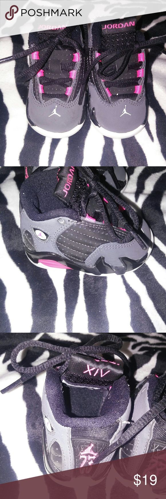 Toddler girls Nike air jordan retro 14 pink Baby Toddler's nike jordan retro hyper pink shoes Metallic grey Size: 2c Condition:used shows signs of wear, in the front comes from a smoke free home Shoes Sneakers