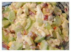 Two boiled eggs, half a cucumber, one apple, one small red onion and a little…