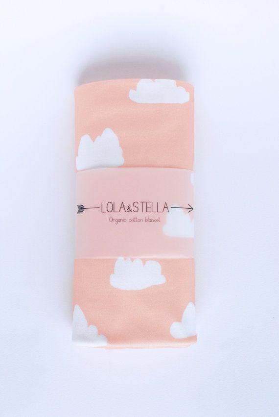 Organic baby blanket in cloud print organic crib by LolaandStella
