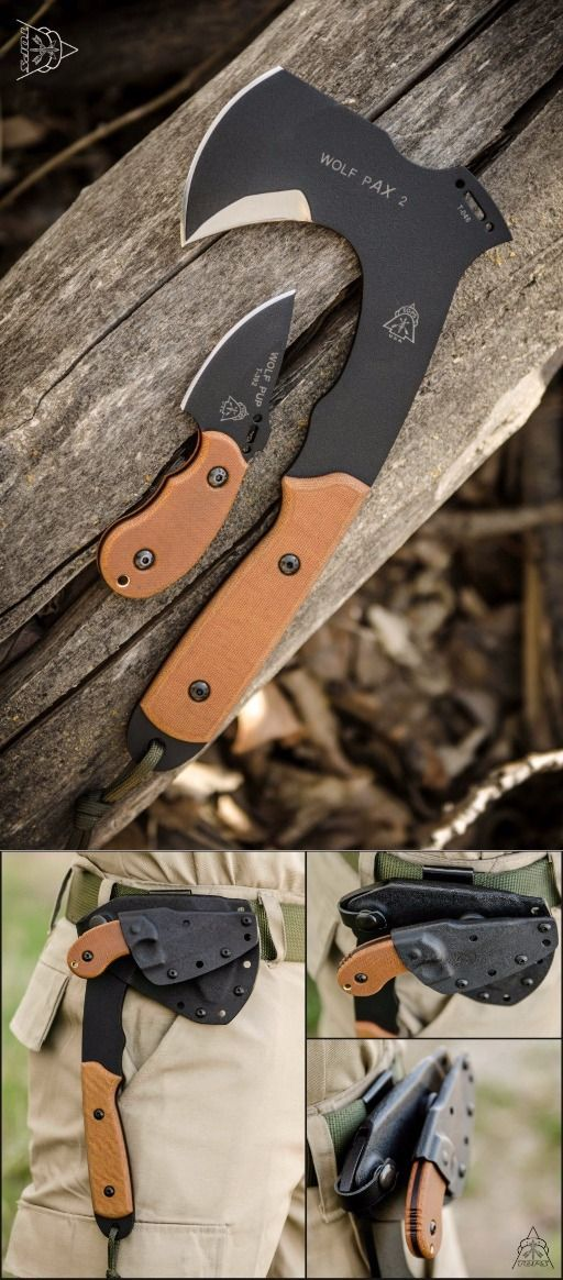 Tops Knives Wolf Pax 2 Combo Axe with Mini Fixed Knife Blade
