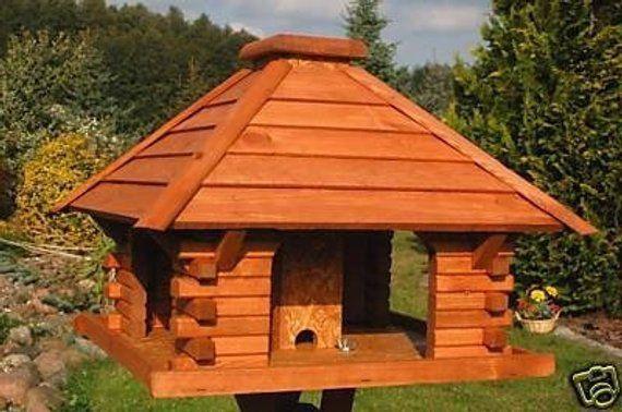 Massives Futterhaus Vogelhaus Impragniert V2 Futterhaus Vogelhauschen Vogelfutterhaus