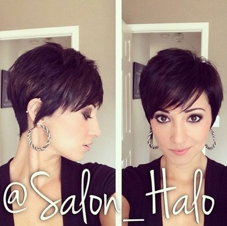 Funky short pixie haircut with long bangs