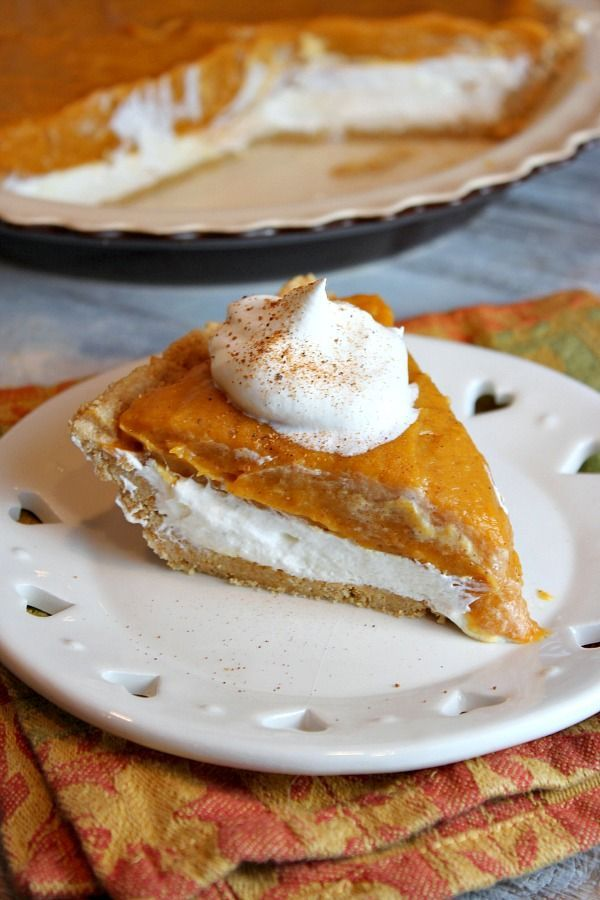 No Bake Double Layer Pumpkin Pie - RecipeGirl.com