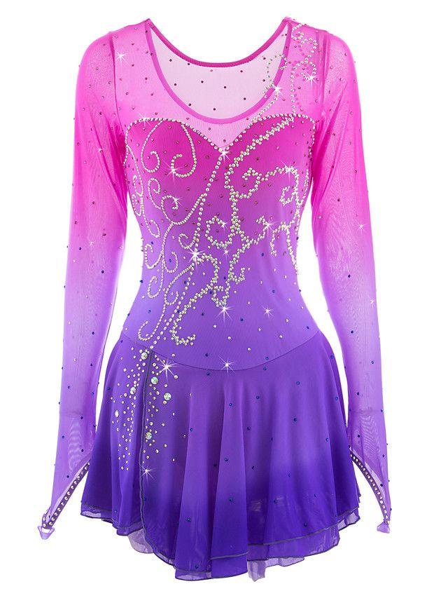 Girl Kid Rhinestones Skating Dress Figure Ice Roller Skating Performance Costume