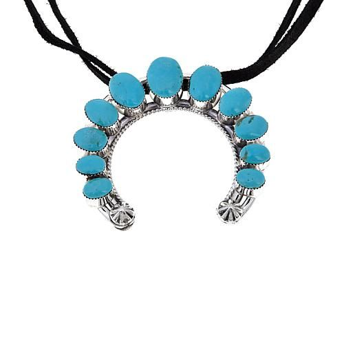 "Chaco Canyon Southwest Jewelry Chaco Canyon Oval Kingman Turquoise Horseshoe Sterling Silver Pendant with 12-1/4"" Double Leather Choker Necklace"