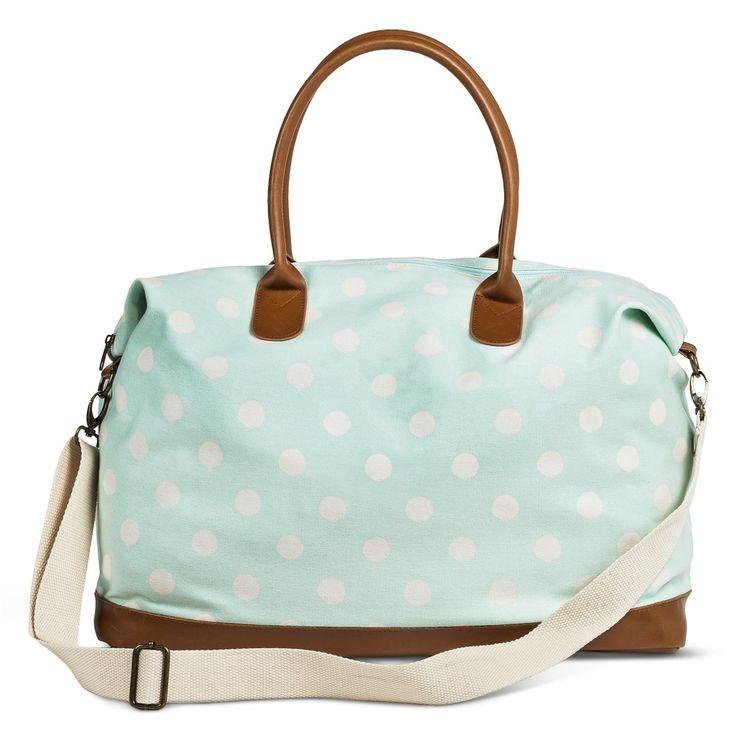 This will be mine!!!!!! Women's Polka Dot Canvas Weekender Handbag - Mint