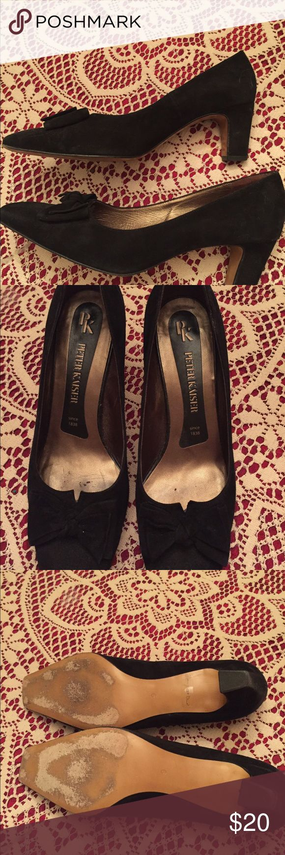 Peter Kaiser Suede Pumps Size 9 These are so sophisticated! Uppers in great shape. Size 9.  (Although inside label says 38 they are a 9). 2-2 1/2 inch heel. Wear on soles but not noticeable when wearing. This is a quality brand! Peter Kaiser Shoes Heels