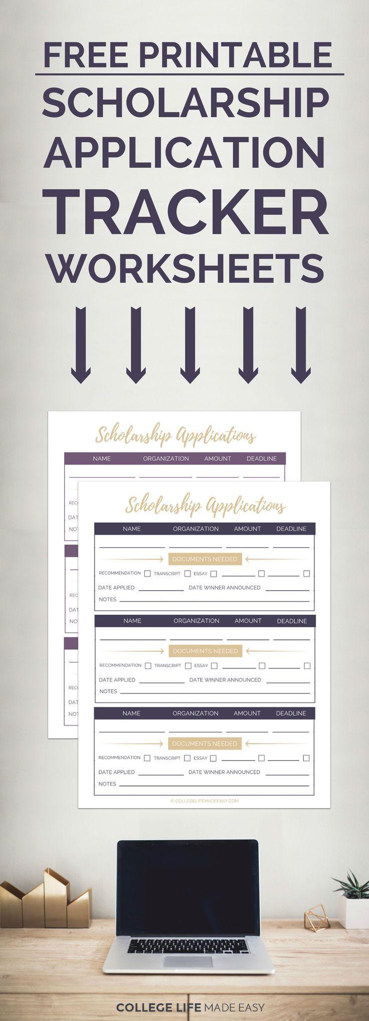 Free Printable Scholarship Application Tracker Worksheets | Scholarship Organizer | High School Student College Student Scholarship Binder | via @esycollegelife