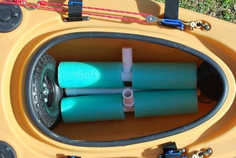 DIY Bulletproof Kayak Cart - Build Instructions + Pics allows you to build a lightweight cart that can be packed up inside your kayak's cargo hold.