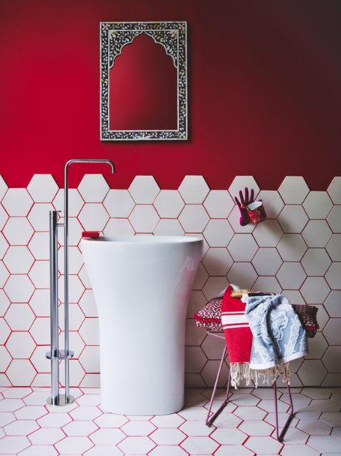 Bathroom | Red | Tiles | White | Modern | Freestanding sink | Monochrome | Modern Moroccan | Livingetc