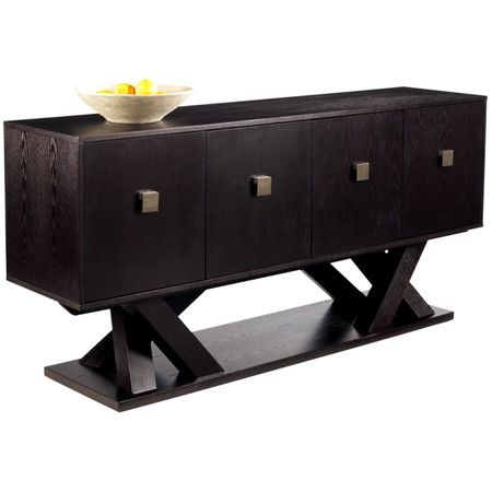 Rectangular ash wood sideboard with oversized brushed steel hardware and a branching base.  Product: SideboardConstructio...