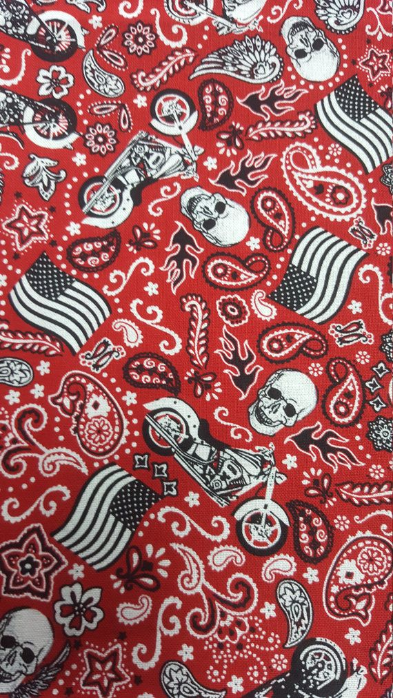 Motorcycle Bandana Fabric, by the yard or Fat Quarter, FQ, Kerchief Fabric, Paisley, Quilting Fabric, FBTY, Skulls, Red, Urban, Bandanna