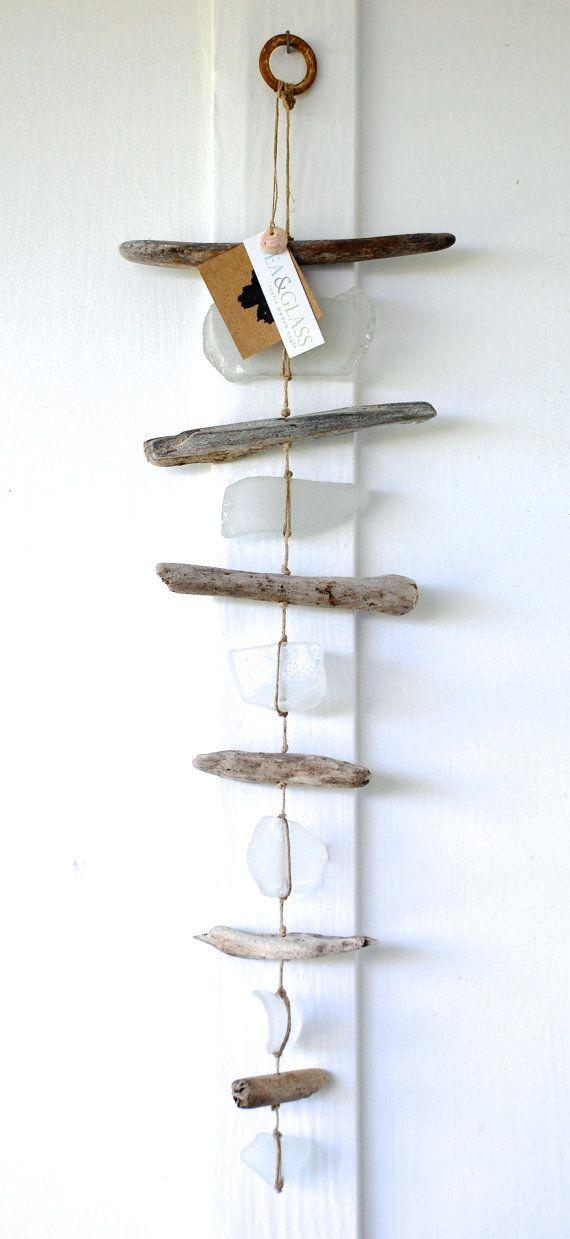Sea Glass & Driftwood Mobile / Wall Hanging / Rustic Decor / Beach Art