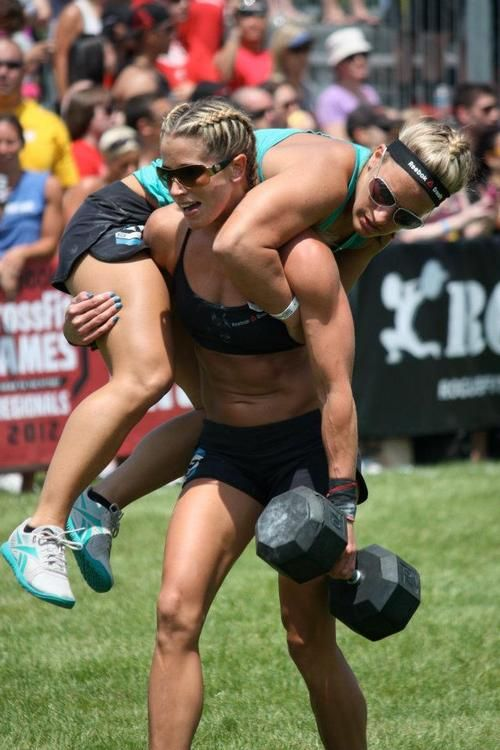 The ability to carry some other chick on my back and a big ol weight in the other hand... all with a smirk!? Love it!