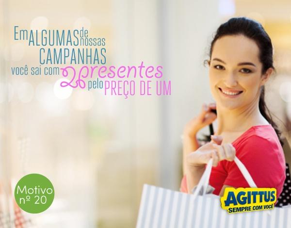 Imagina você participar de uma campanha nossa e, ao comprar um presente, sair com um outro grátis?! Fazemos de tudo para sorrir dobrado! :)