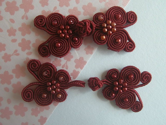 5 pairs Claret Chinese Knot Buttons BU claret by duckytown on Etsy, $3.50