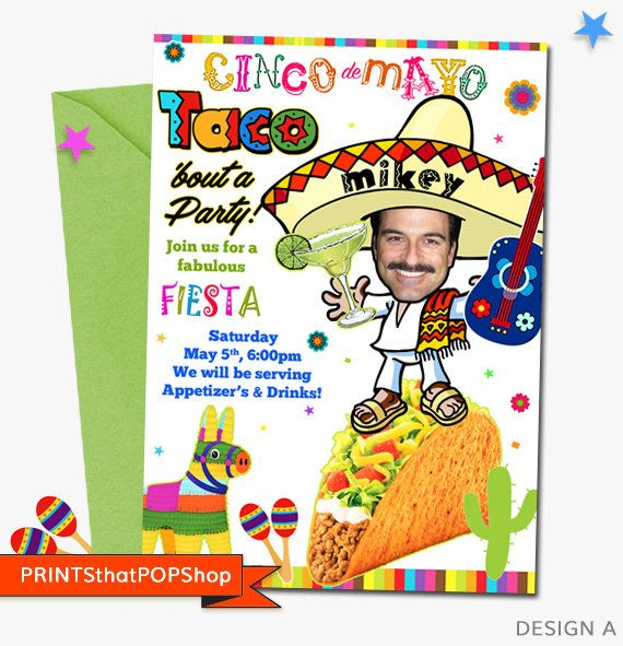 Cinco De Mayo,Taco Bout a Party,Fiesta Invitation,Mexican Fiesta,Cinco De Mayo Fiesta,Custom Face,First Birthday,Custom Photo,Mexican Party