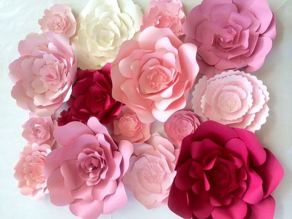 Paper Flower backdrop for weddings and events - other color choices available. This large group of amazingly detailed paper flowers consists of:  16
