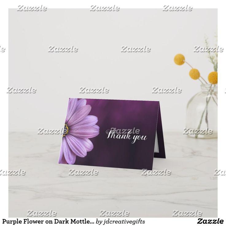purple flower on dark mottled color blank inside thank you