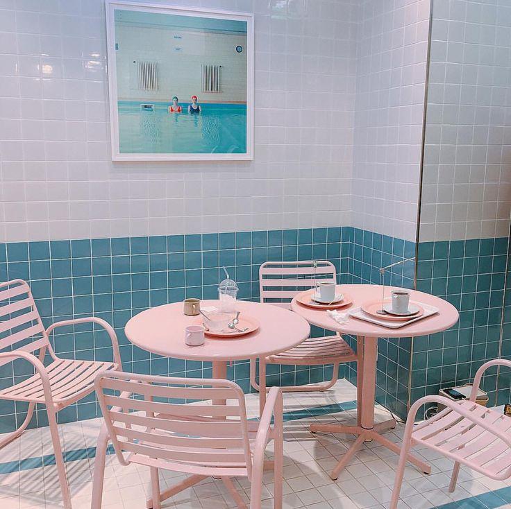 Pink Pool Cafe Table In 2019 Cafe Interior Design Cafe