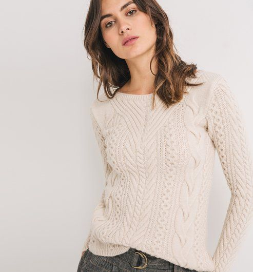 Cable-knit jumper ecru - Promod