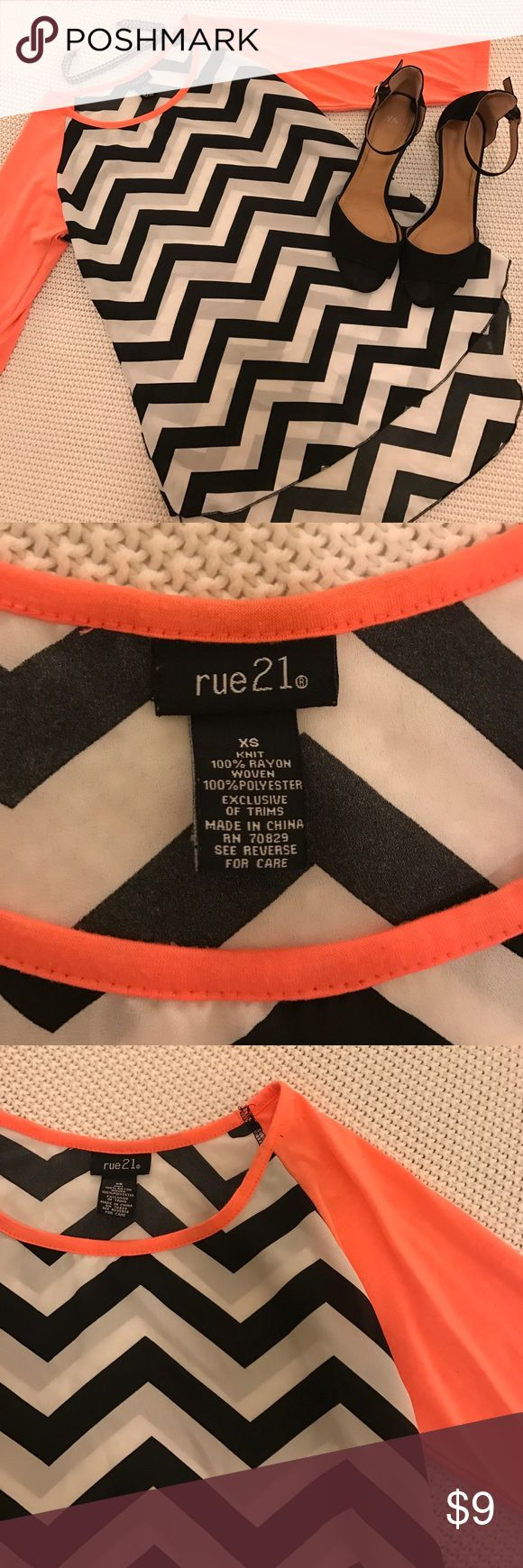 Pink/Black and White Chevron Top Size XS. Worn twice. Excellent condition. Perfect with black pants and high heels. Rue 21 Tops Blouses