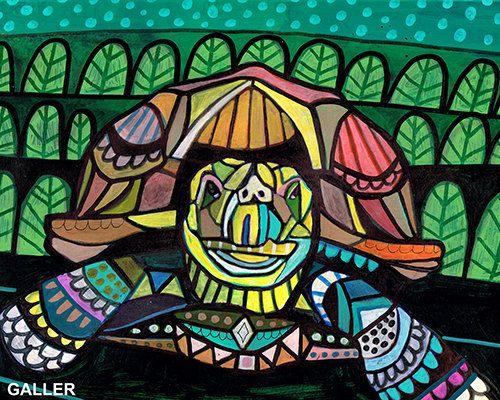 Tortoise Turtle Folk art  Poster Print of by HeatherGallerArt, $12.00