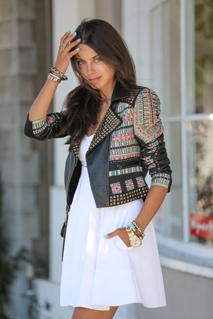 summer look - white dress and studded / leather jacket.
