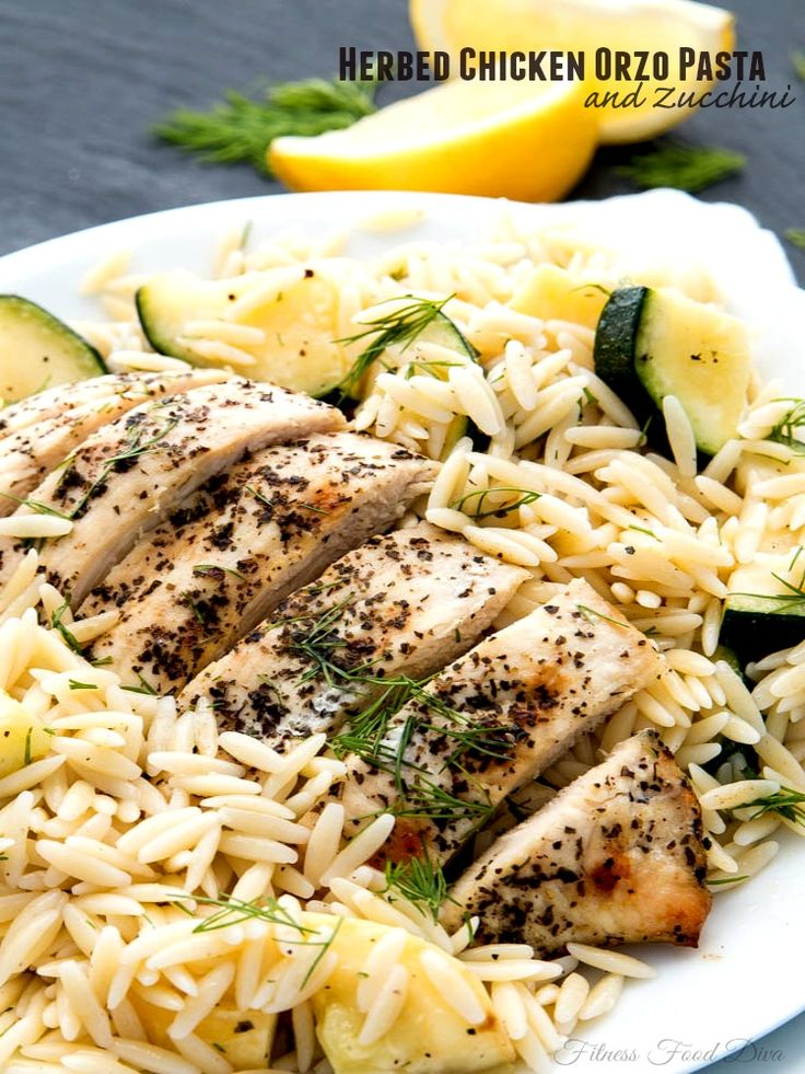In just 30 minutes, dinner is served with this Herbed Chicken Orzo Pasta with Zucchini from Fitness Food Diva.