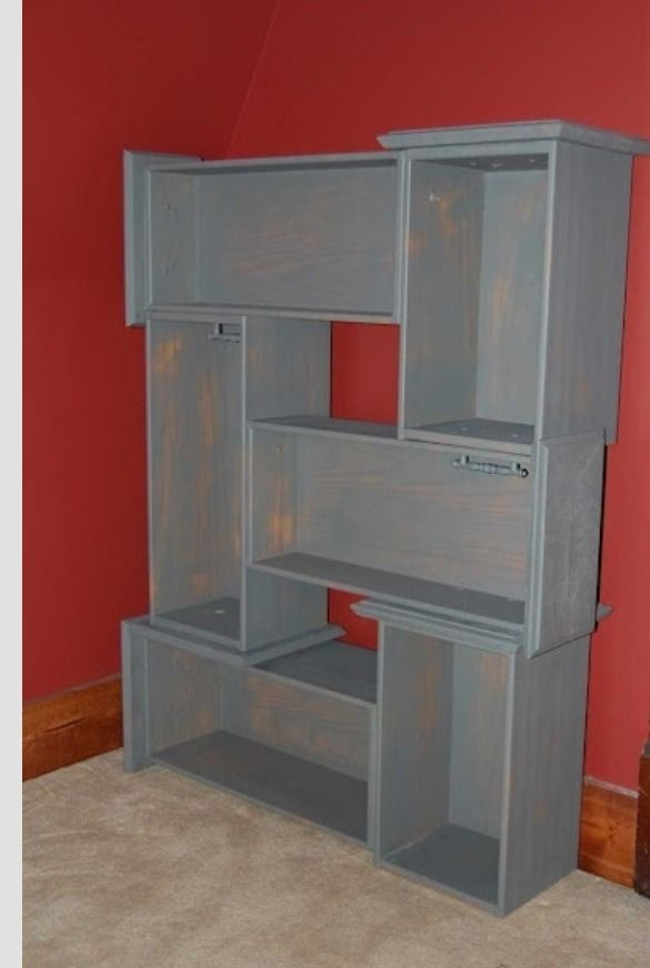 Up-cycle Dresser Drawers! Paint and attach drawers for an Awesome and unique bookcase or display case.