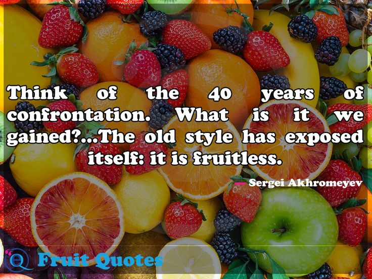 Think of the 40 years of confrontation. What is it we gained?...The old style has exposed itself: it is fruitless. Fruit Quotes 29