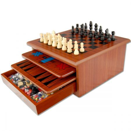 $49.95,Save $5.00 - 32.8 cm x 32.8 cm x 15 cm - 10 in 1 Wooden Board Games House - Brown at CrazySales.com.au - Board games are underrated! Everyone knows that nothing beats a good old game of Snakes & Ladders, or a round of challenging chess!