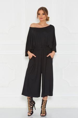 Štýlový nohavicový overál stiahnutím v páse gumičkou, horná časť s možnosťou posunutia na ramená, zadná časť zapínanie na zips, vhodné na party či každodenné nosenie.