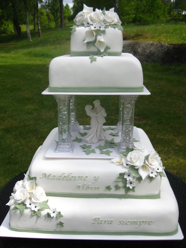 shabby chic bridal shower cakes%0A White and Green Wedding Cake